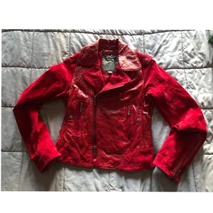 ZAC POSEN for TARGET RED SUEDE & LEATHER JACKET XS
